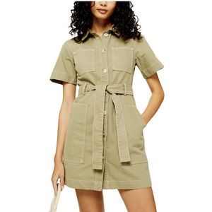 Topshop Short Sleeve Utility Dress Women's Size 6